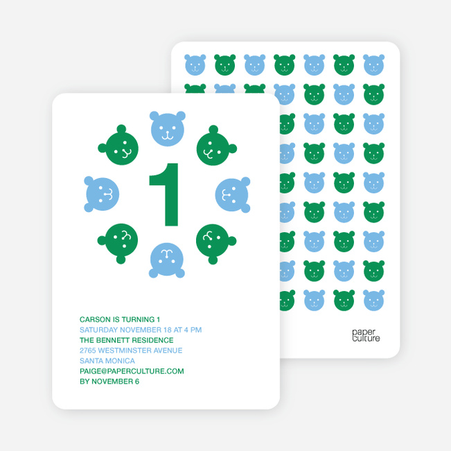 Teddy Bear Kaleidoscope Birthday Invite - Forest Green