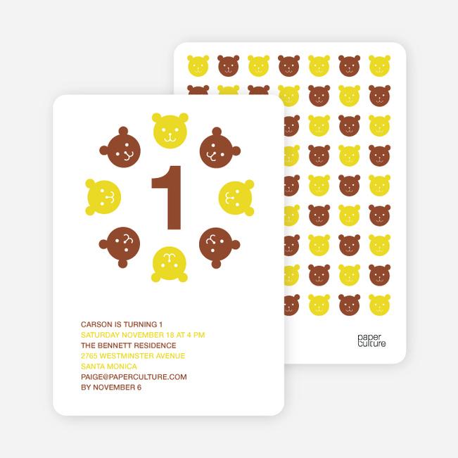 Teddy Bear Kaleidoscope Birthday Invite - Brown Red
