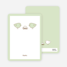 Thank You Card for Nesting Birds Baby Shower Invitation - Pale Celadon
