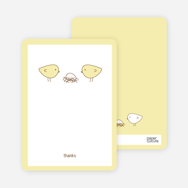 Thank You Card for Nesting Birds Baby Shower Invitation - Lemon Chiffoh