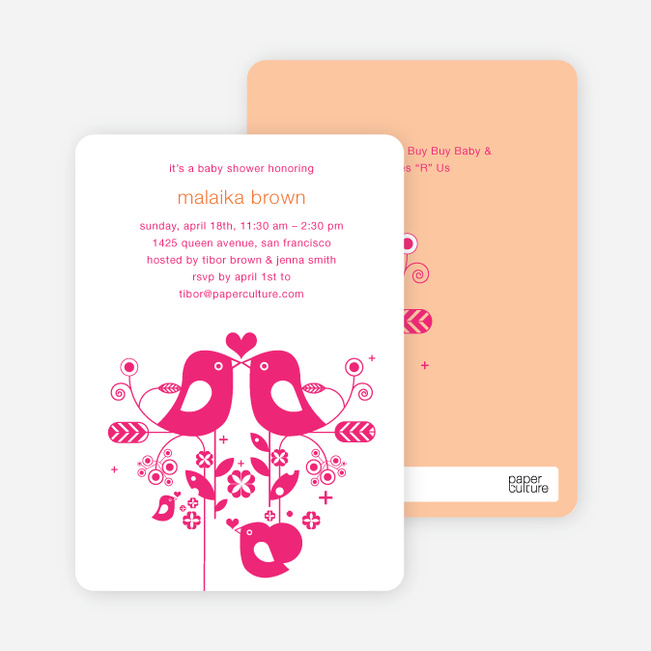 True Love Baby Shower Invitation - Magenta