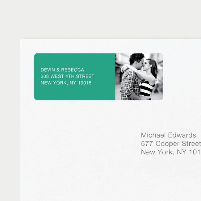 Vertical Photo Right Return Address Labels - Green