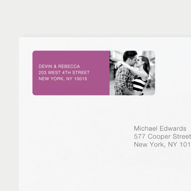 Vertical Photo Right Return Address Labels - Purple