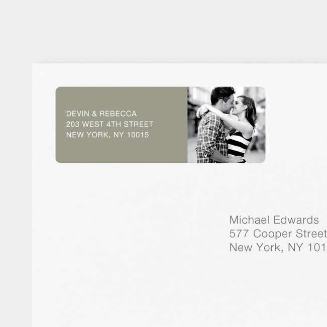 Vertical Photo Right Return Address Labels - Gray