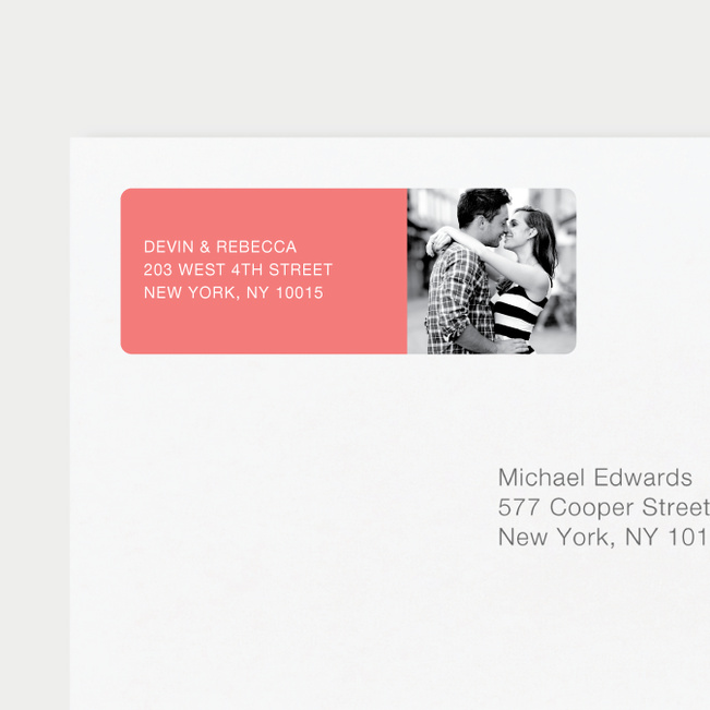 Modern Photo Return Address Labels - Pink
