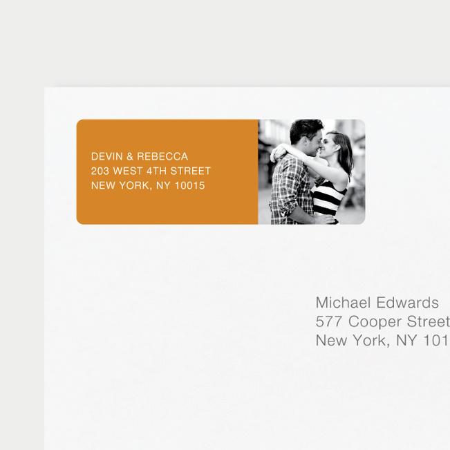 Vertical Photo Right Return Address Labels - Orange
