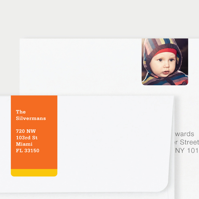 Vertical Photo Wrap Custom Address Labels - Yellow