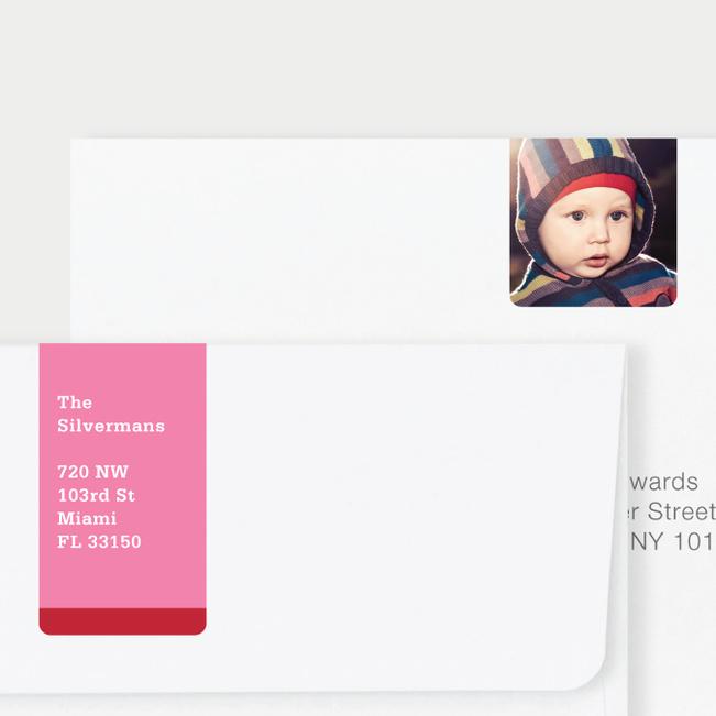 Vertical Photo Wrap Custom Address Labels - Red