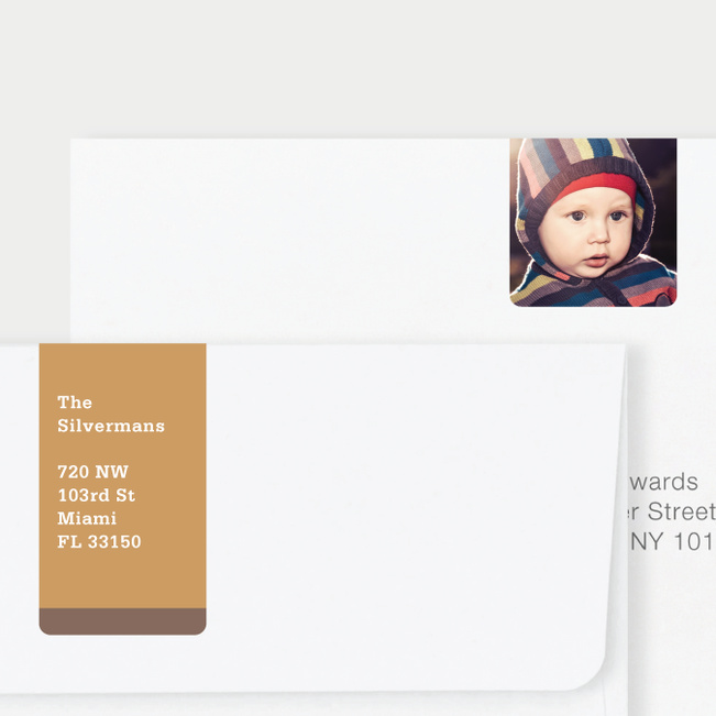 Vertical Photo Wrap Custom Address Labels - Brown
