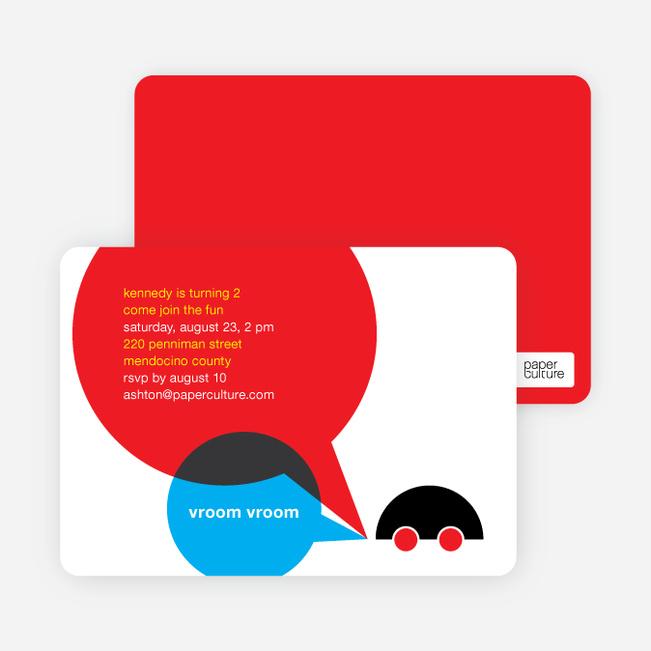 Vroom Car Modern Birthday Invitation - Bright Red
