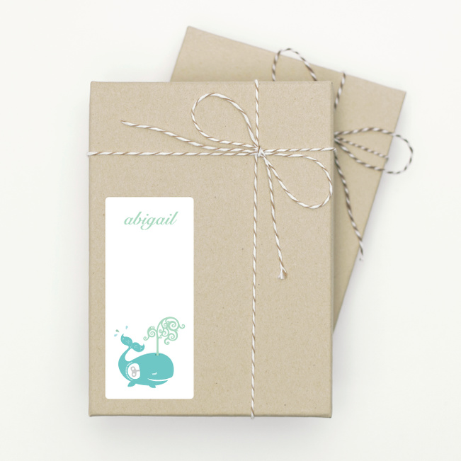 Whale Spout Gift Tag Stickers - Blue