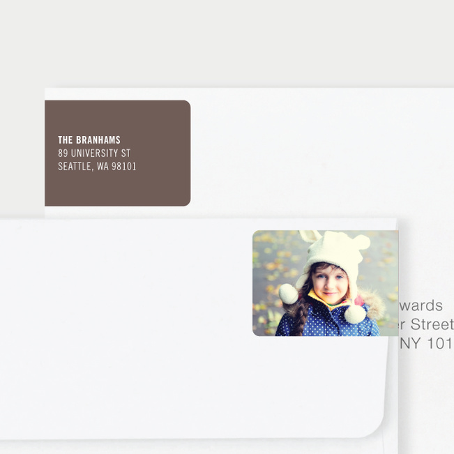 White Horizontal Photo Left Return Address Labels - Brown