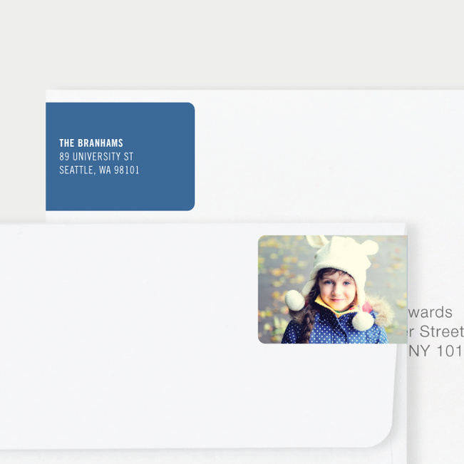 White Horizontal Photo Left Return Address Labels - Blue