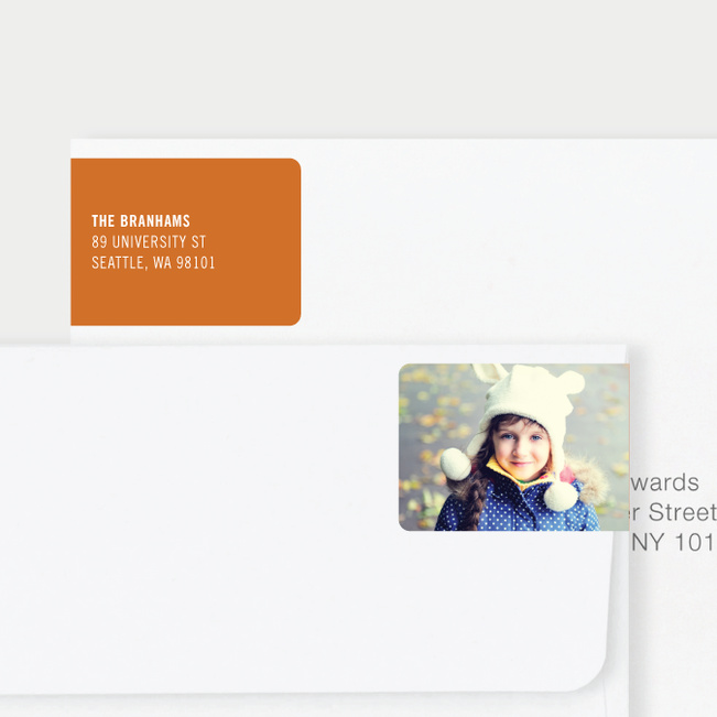 White Horizontal Photo Left Return Address Labels - Orange