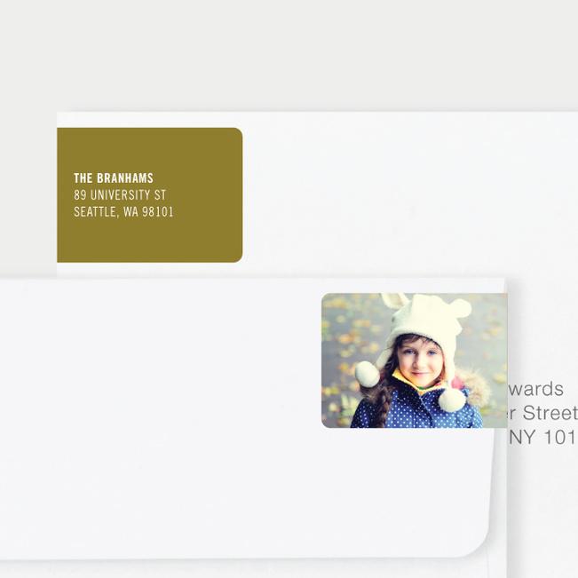 White Horizontal Photo Left Return Address Labels - Green