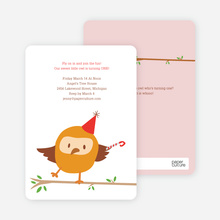 Whoo Yeah, Dancing Owl Birthday Party Invitations - Strawberry Cream