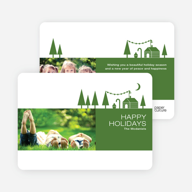 Woodsy Green Farm Holiday Cards - Green