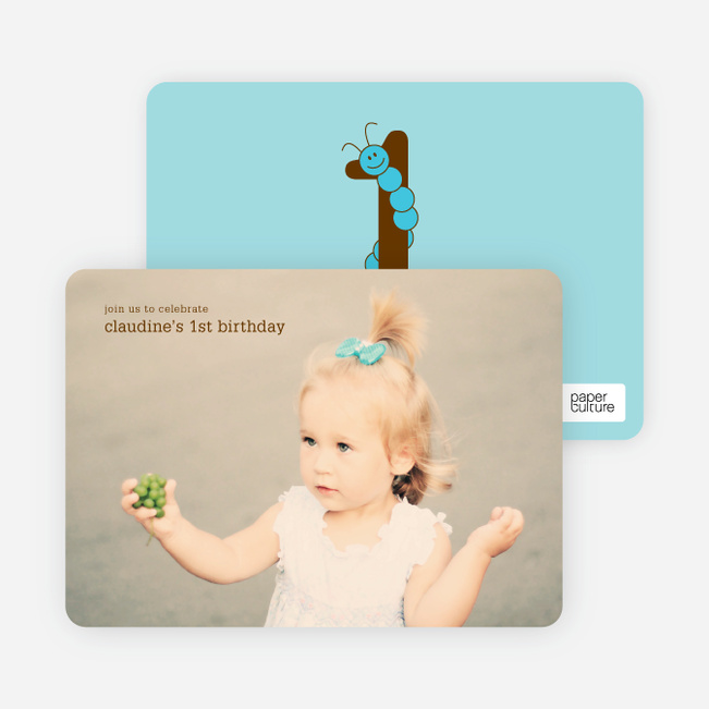 Worm Modern 1st Birthday Invitation - Light Blue