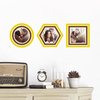 Circle, Hexagon and Square, Modern Stripe Photo Frame Decals - Yellow
