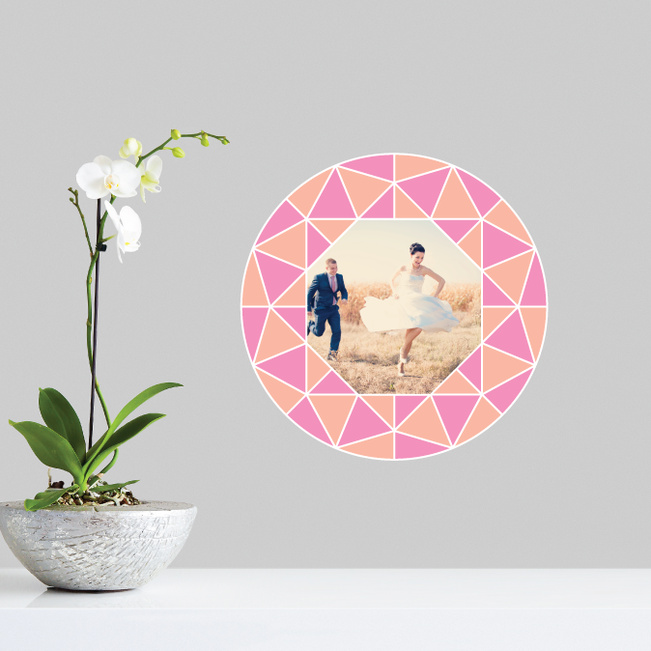 Circle of Diamonds Photo Wall Decals - Pink