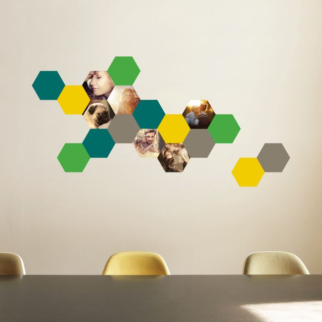 Honeycomb Photo Wall Decals - Green