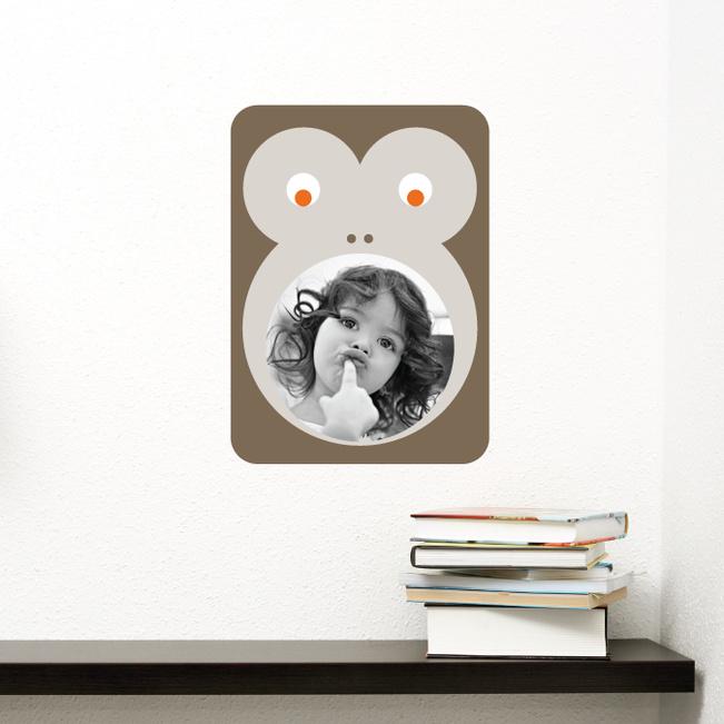 Monkey Photo Frame Stickers - Brown