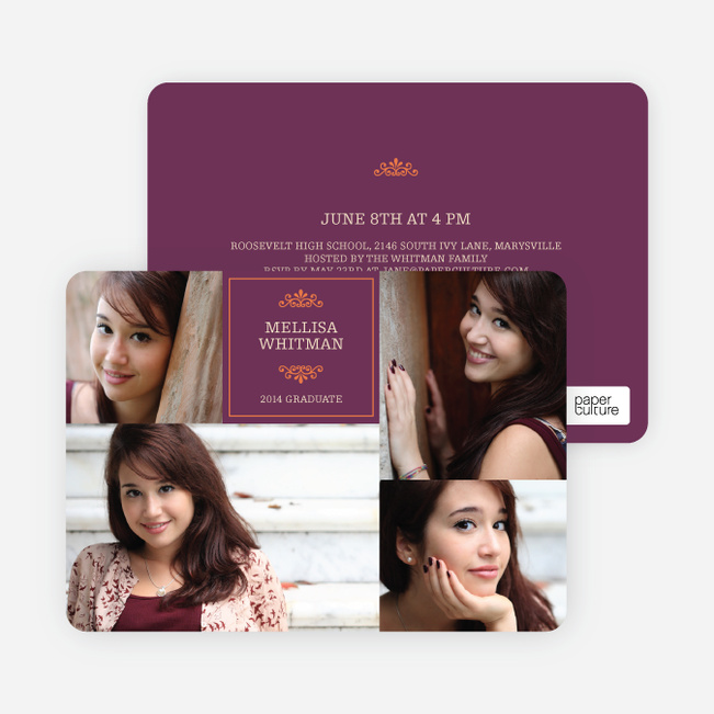 4 Photo Graduation Cards - Purple