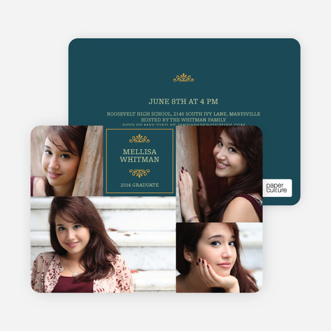 4 Photo Graduation Cards - Blue