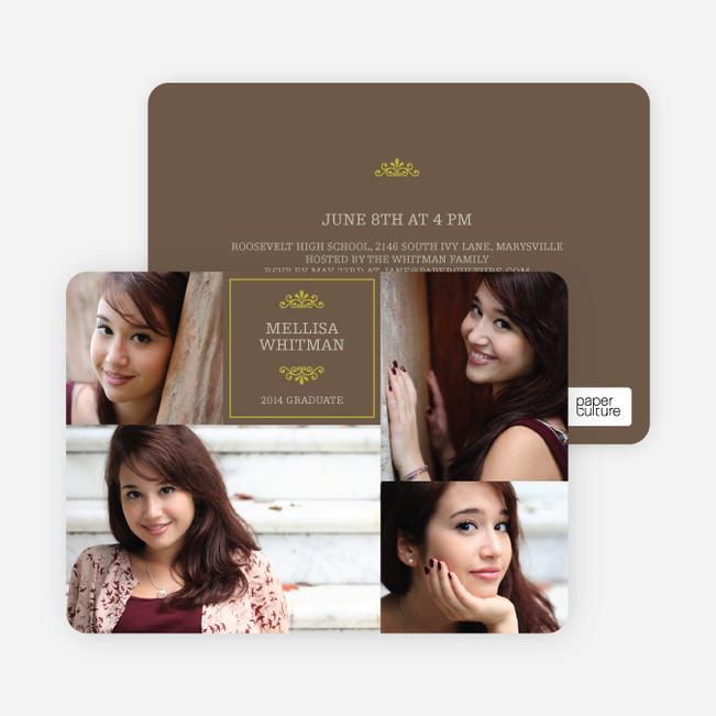 4 Photo Graduation Cards - Brown
