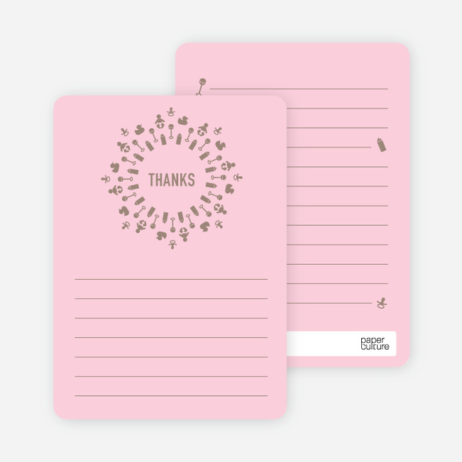 Baby Icon Burst Matching Thank You Cards - Pink Creampuff
