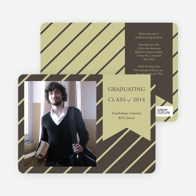 Banner Stripes Graduation Party Invitations - Brown