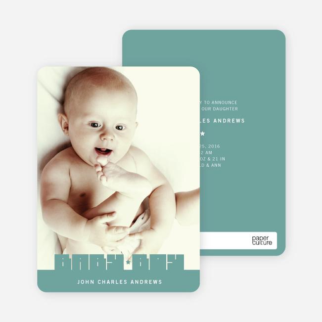 Bold Modern Boys' Baby Announcement - Sea Green