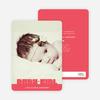 Bold Modern Girls' Baby Announcement - Berry Pink