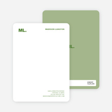 Business Stationery: Personal Monogram or Company Logo - Asparagus