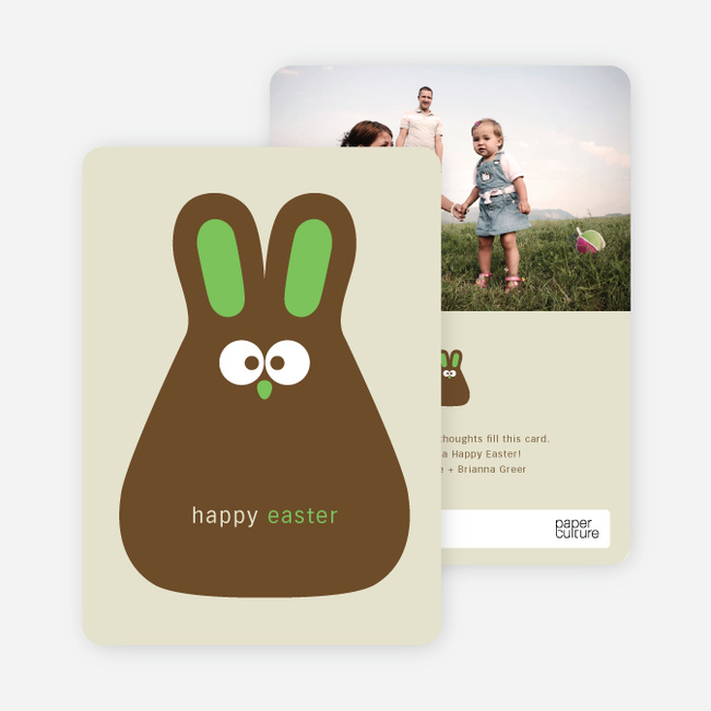 Chocolate Bunny Easter Photo Cards - Green Mint