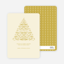 Christmas Tree Flourish Holiday Cards - Champagne