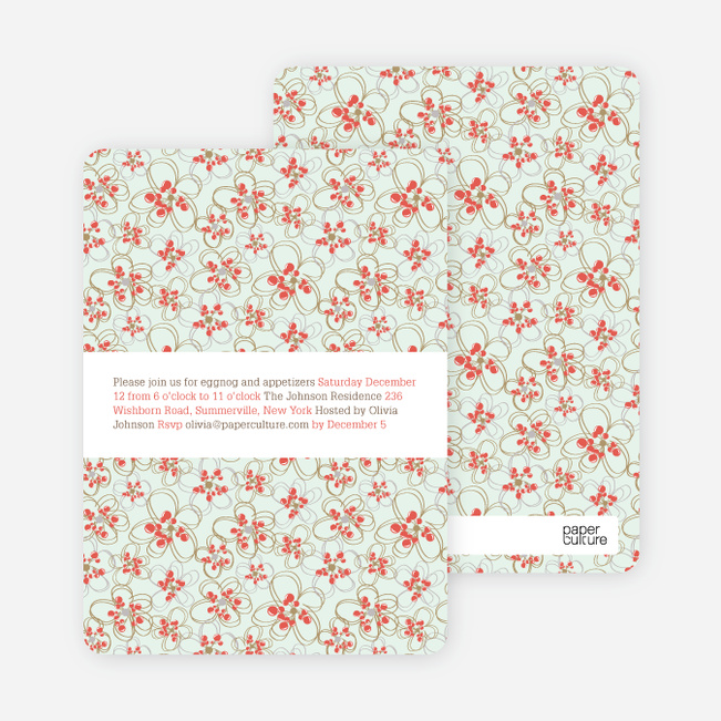 Daisy Pattern Holiday Invitations - Orange Red