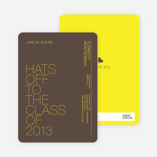 Hats Off Graduation Announcement and Invitation - Bright Yellow