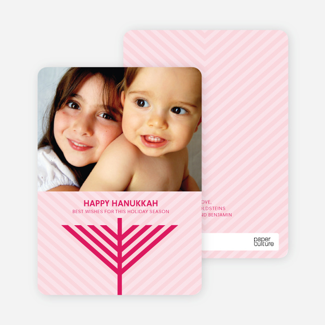 Menorah Wishes Chanukah / Hanukkah Cards - Fuschia