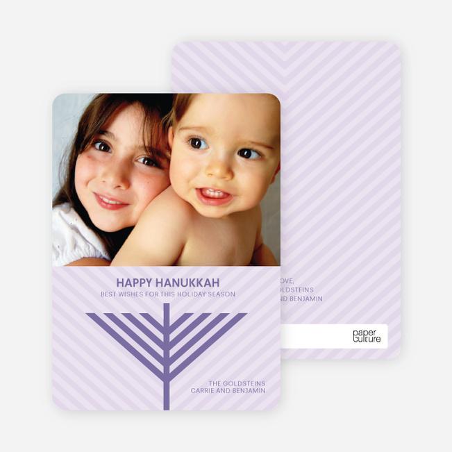 Menorah Wishes Chanukah / Hanukkah Cards - Amethyst