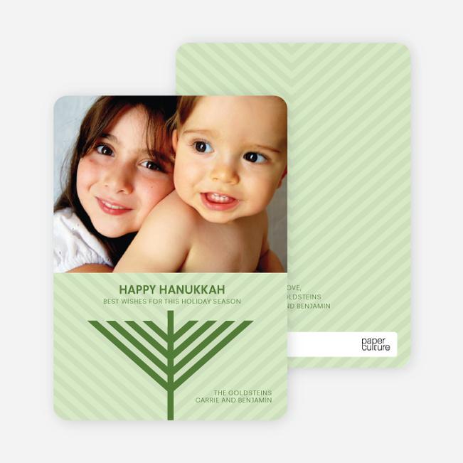 Menorah Wishes Chanukah / Hanukkah Cards - Asparagus