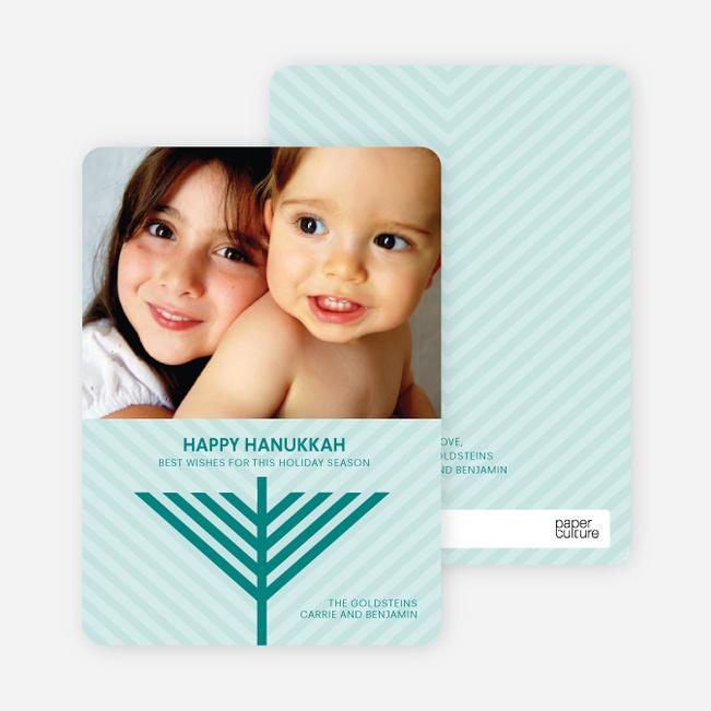 Menorah Wishes Chanukah / Hanukkah Cards - Teal