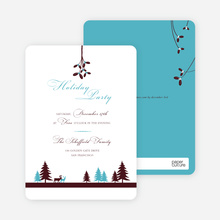 Mistletoe Party Invitations - Turquoise