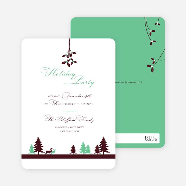Mistletoe Holiday Party Invitations - Wintergreen
