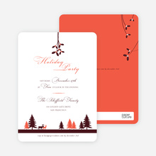 Mistletoe Party Invitations - Orange Red