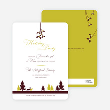 Mistletoe Party Invitations - Mustard
