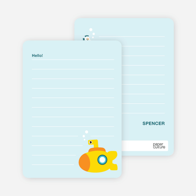 Note Cards: '3 in the Sea in the Yellow Submarine' cards. - Light Blue