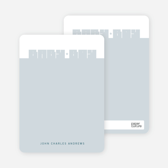 Note Cards: 'Bold Modern Boys' Baby Announcement' cards. - Steel Blue