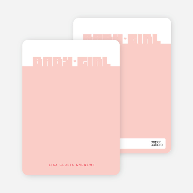 Note Cards: 'Bold Modern Girls' Baby Announcement' cards. - Berry Pink