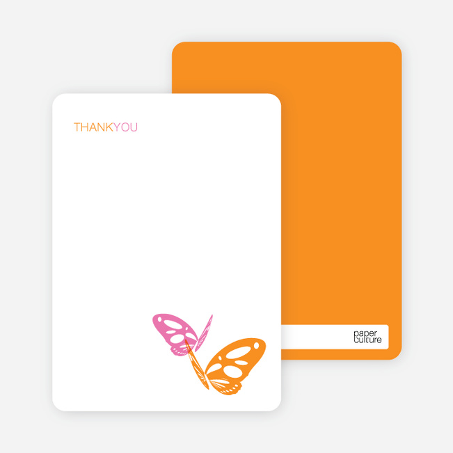 Note Cards: 'Butterfly Party Invitations' cards. - Hot Pink